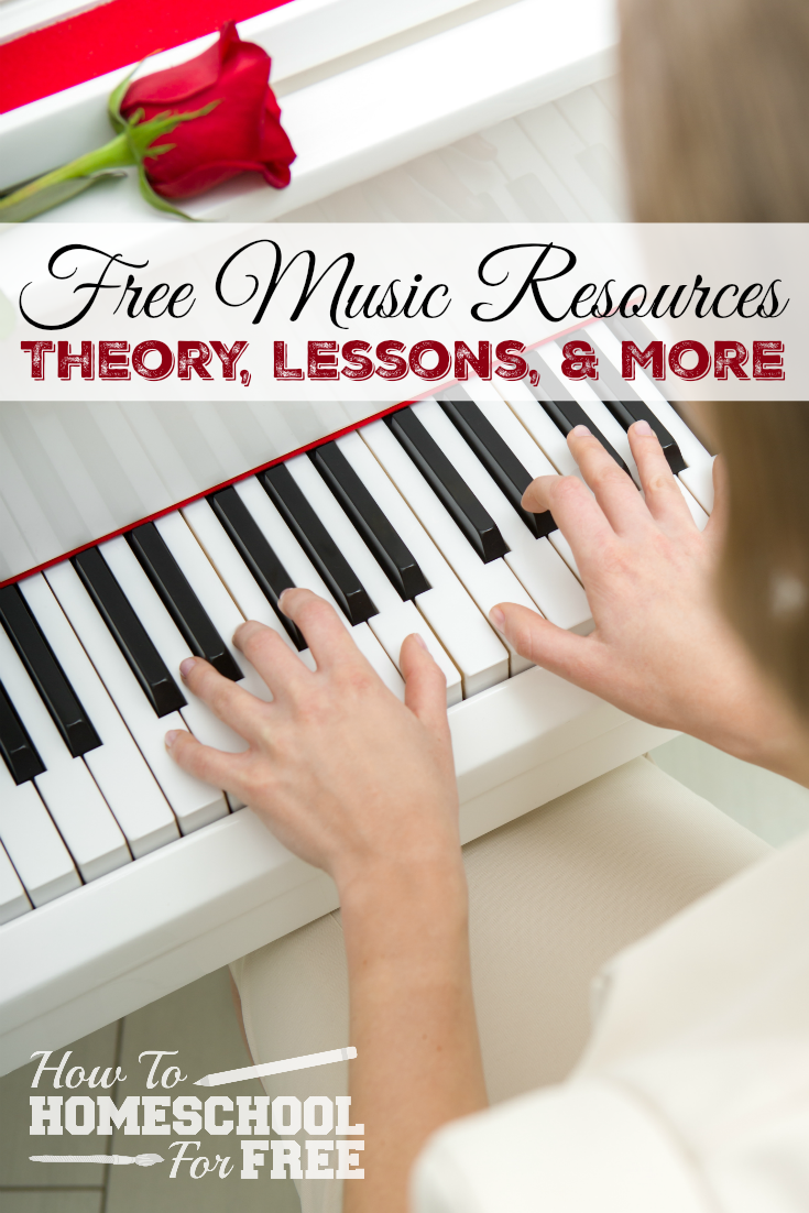 Here are several FREE options for homeschooling music including theory, instrument lessons, and more!