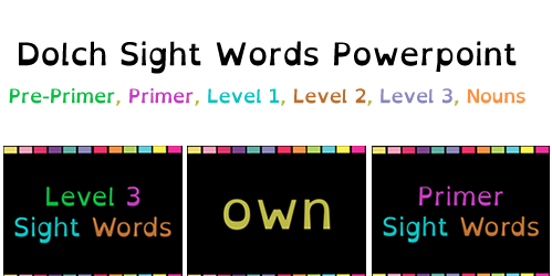 Dolch Sight Words FREE Powerpoint Downloads {All Levels}! - How To ...: http://howtohomeschoolforfree.com/dolch-sight-words-lists/
