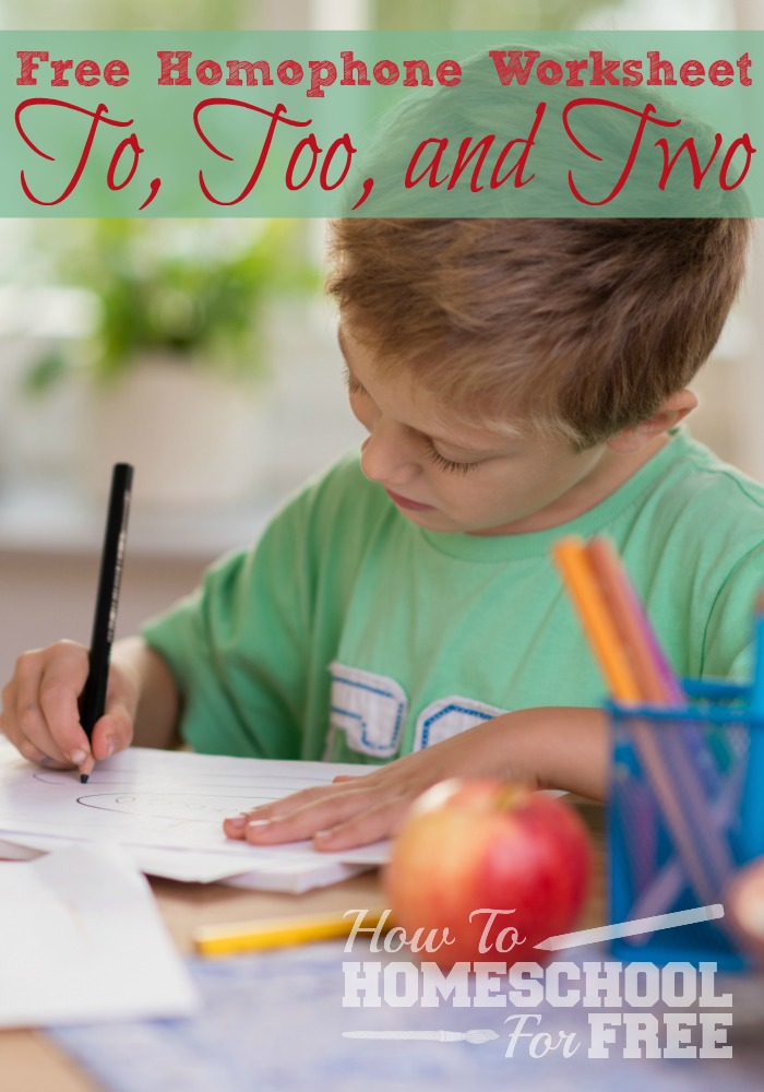 Easily teach your kiddo the difference between to, too, and two with this FREE homophone worksheet!