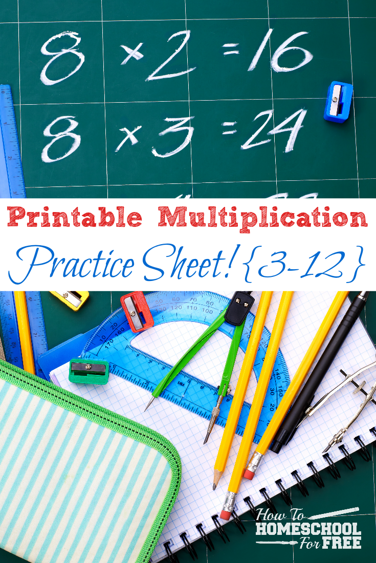 Here is a FREE printable multiplication practice sheet for problems 3-12!!